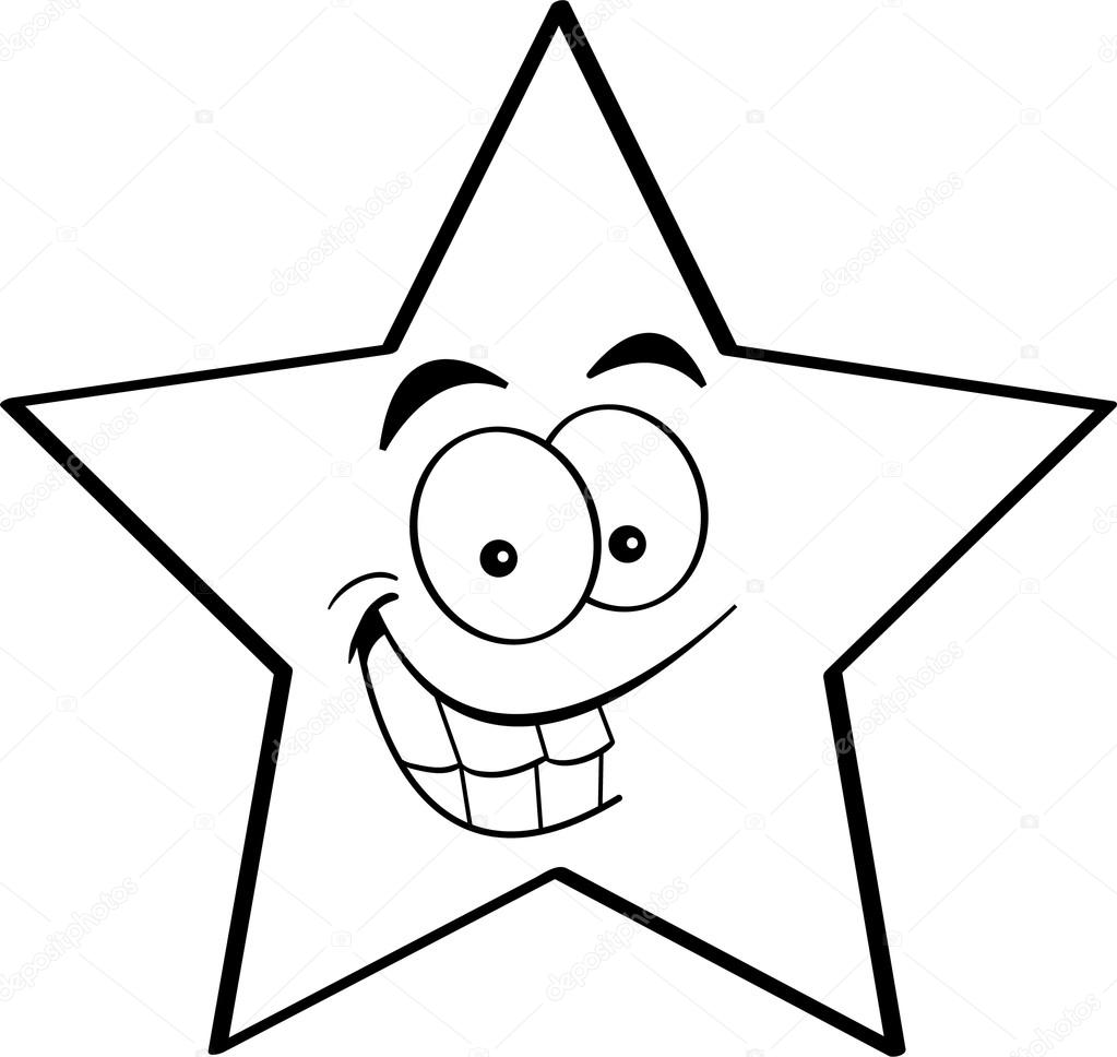 Kerstster Kleurplaat Cartoon Smiling Star Stock Vector 169 Kenbenner 15861791