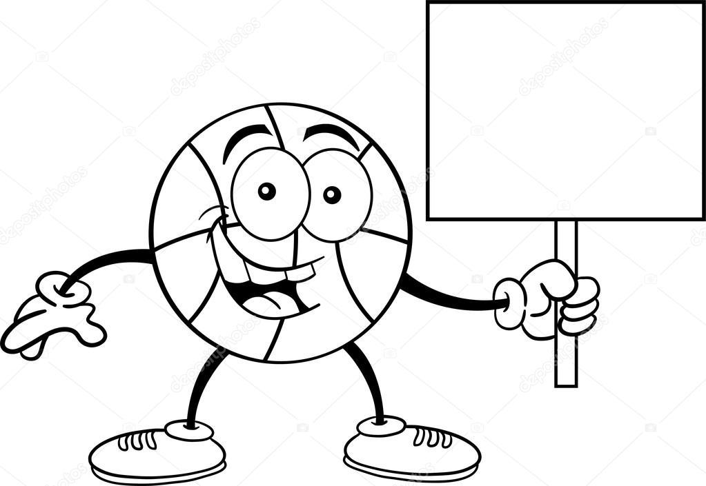 baloncesto dibujos animados con un cartel — Archivo Imágenes ...