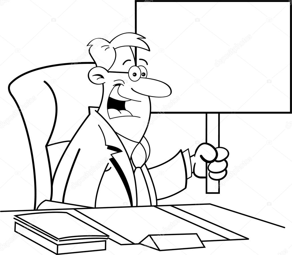 Cartoon Man Sitting At A Desk And Holding A Sign Stock
