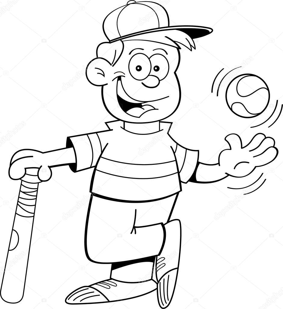 Imágenes Niño Jugando Baseball Para Colorear Muchacho De