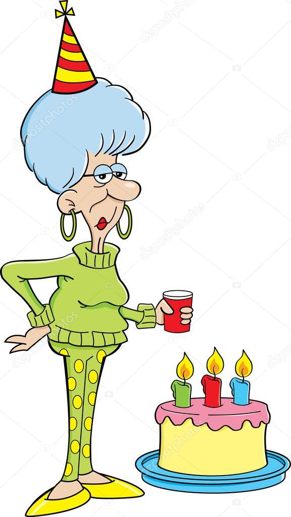 Cartoon Elderly Women With A Birthday Cake Stock Vector