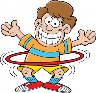 Cartoon boy with a hula hoop