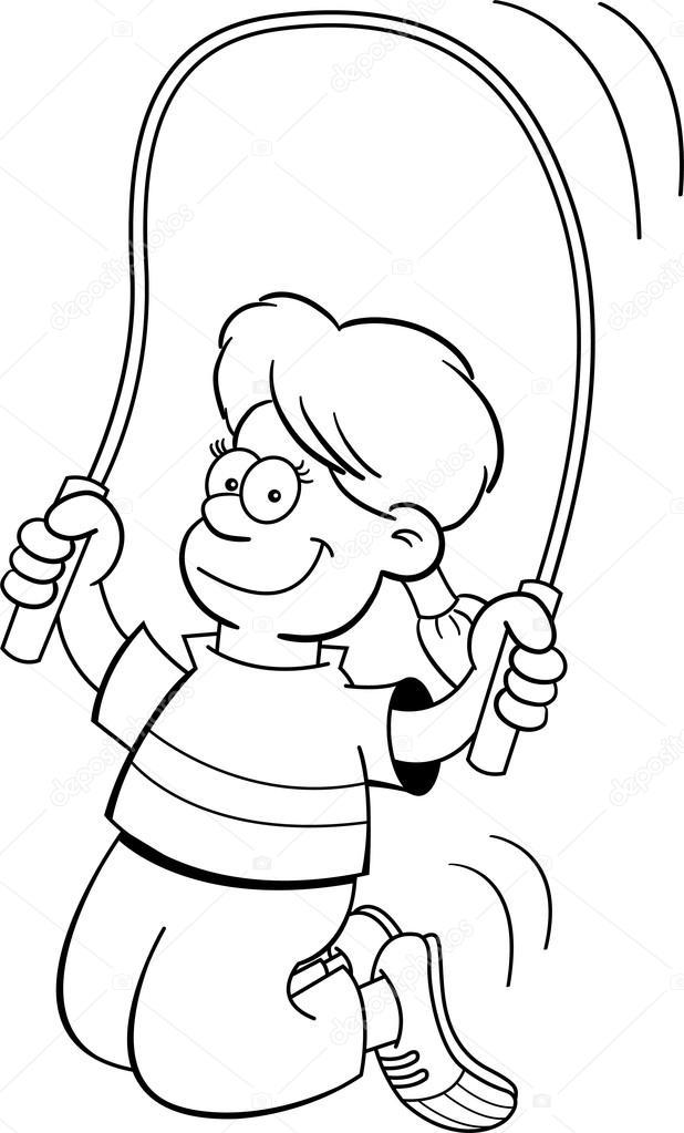 Dibujos Niña Saltando La Cuerda Animada Chica De Dibujos Animados