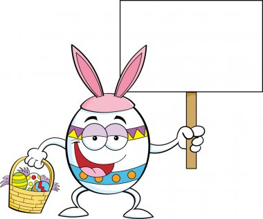 Cartoon Easter egg holding a sign