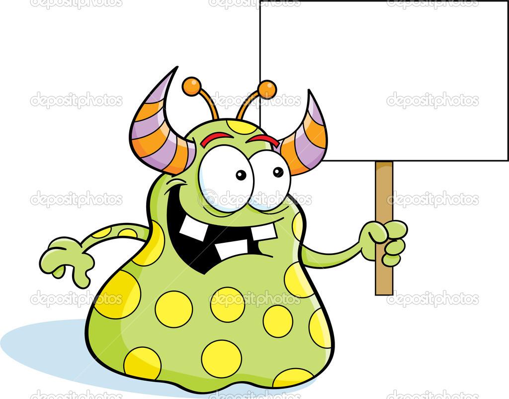 cartoon alien holding a sign u2014 stock vector kenbenner 22954734