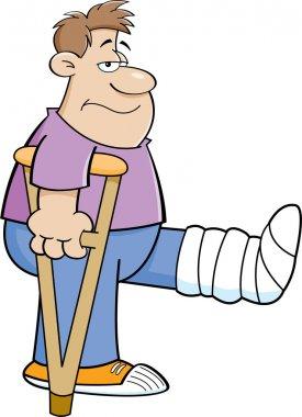 Cartoon man on crutches