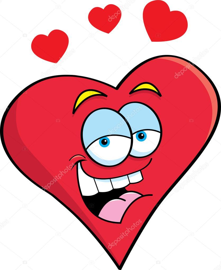 Cartone animato cuore sorridente — vettoriali stock