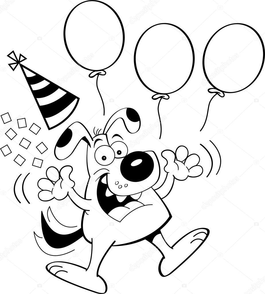 perro de dibujos animados saltando con globos — Archivo Imágenes ...
