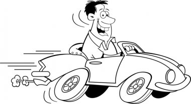 Cartoon Man Driving a Car (Black and White Line Art)