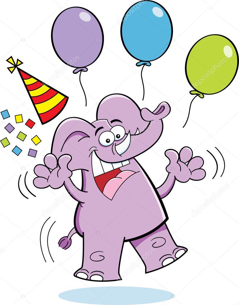 Cartoon Verjaardag Olifant Springen Stockvector C Kenbenner 24734155