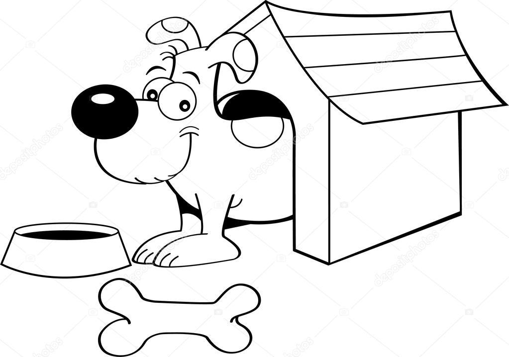 Bir Köpek Kulübesi Içinde Karikatür Köpek Stok Vektör Kenbenner