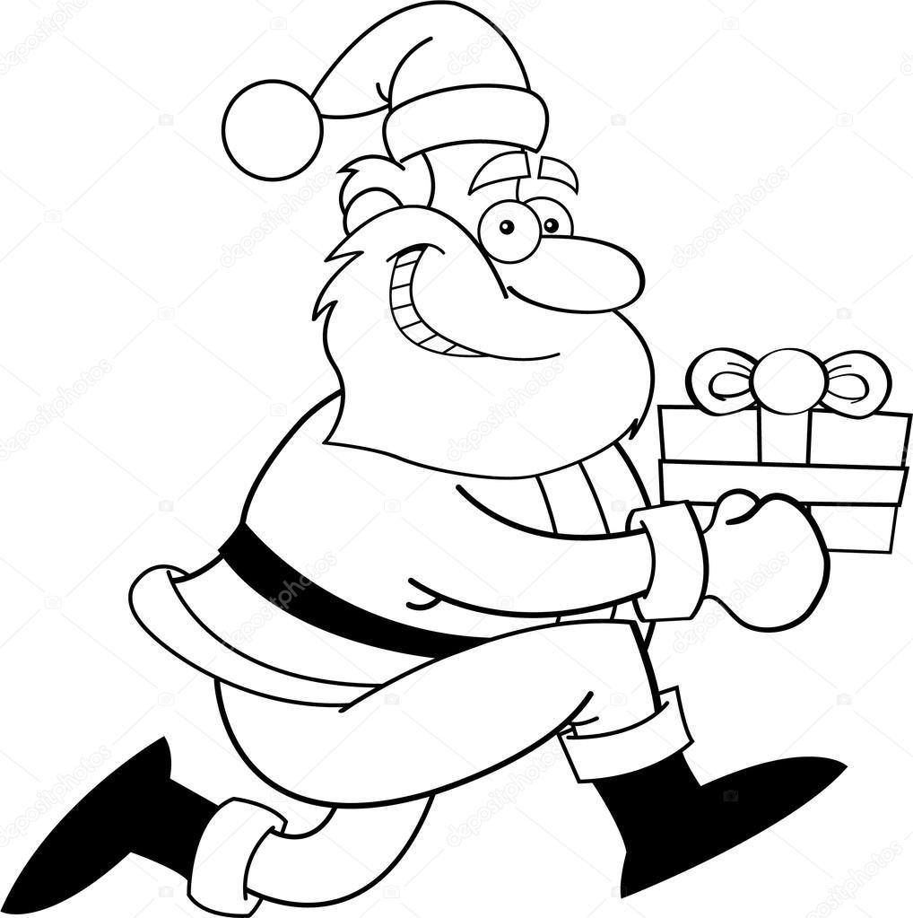 schwarz wei illustration des weihnachtsmannes l uft mit. Black Bedroom Furniture Sets. Home Design Ideas