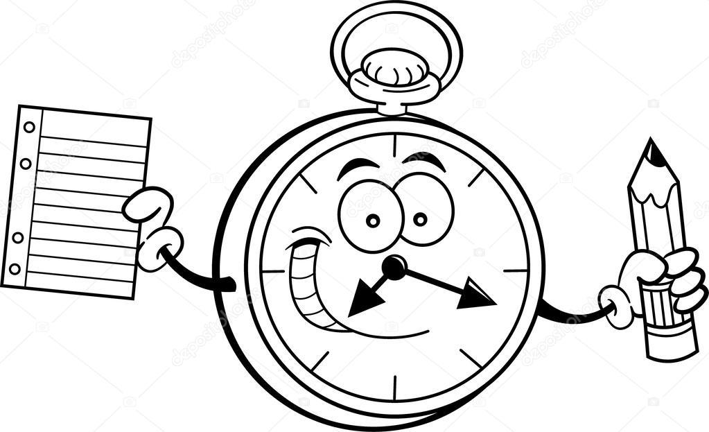 reloj de dibujos animados sosteniendo un lápiz y papel — Archivo ...