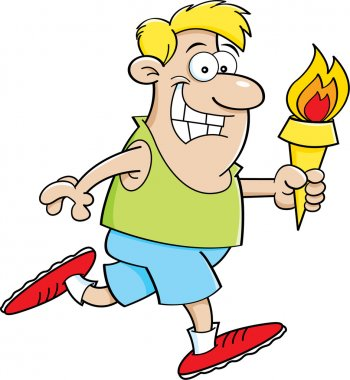 Cartoon Running Man with a Torch