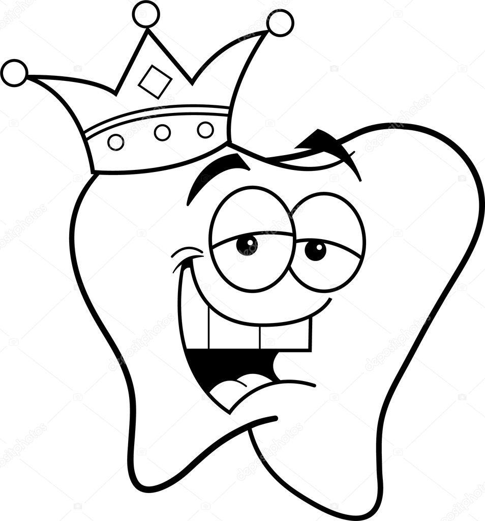 Diente De Dibujos Animados Usando Una Corona Archivo Imágenes
