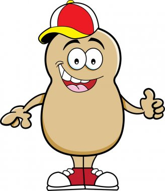 Cartoon potato wearing a baseball cap