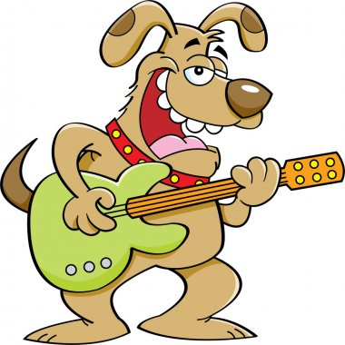 Cartoon Dog Playing a Guitar