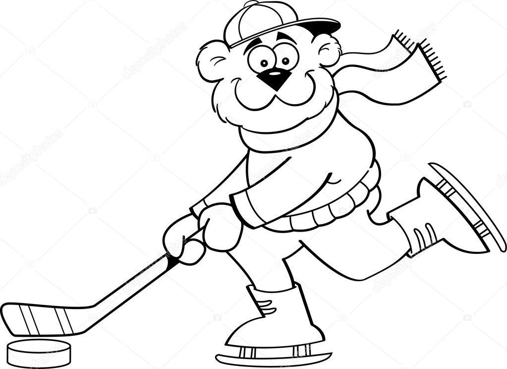 dibujos animados oso jugando hockey — Archivo Imágenes Vectoriales ...