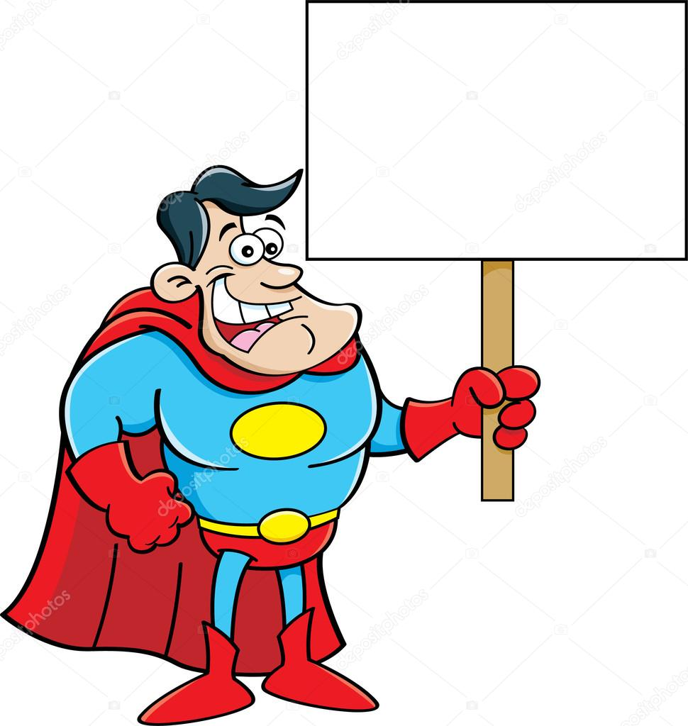 Cartoon-Superheld, ein Schild — Stockvektor © kenbenner #39775749