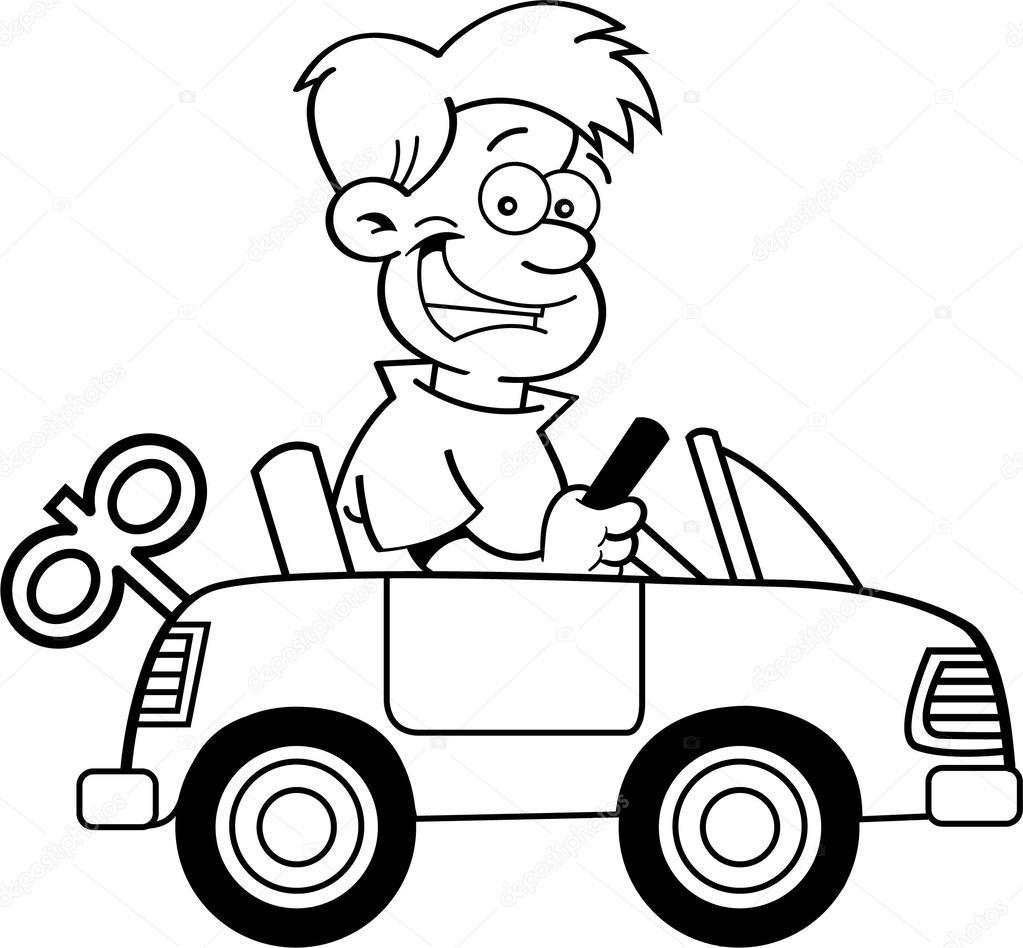 muchacho de dibujos animados con un coche de juguete — Archivo ...