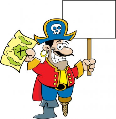 Cartoon pirate holding a sign