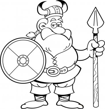 Cartoon viking holding a shield and a spear.