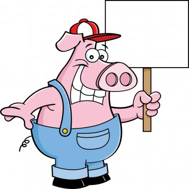 Cartoon pig in overhauls holding a sign
