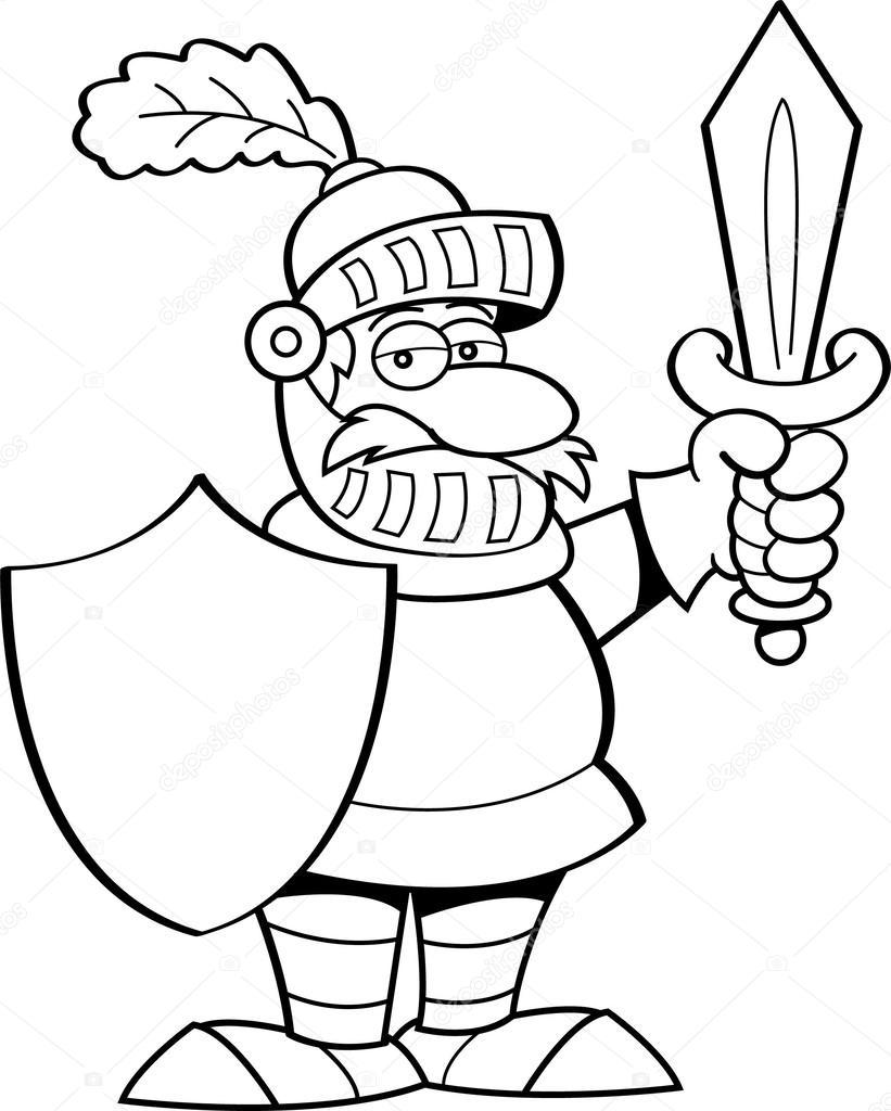 Caballero de dibujos animados con una espada y un escudo — Vector de ...