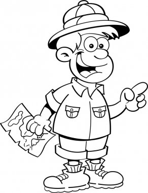 Cartoon boy dressed as an explorer
