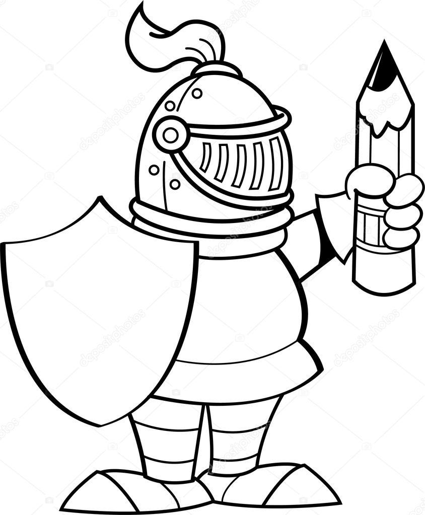 Caballero de dibujos animados sosteniendo un escudo y un lápiz ...