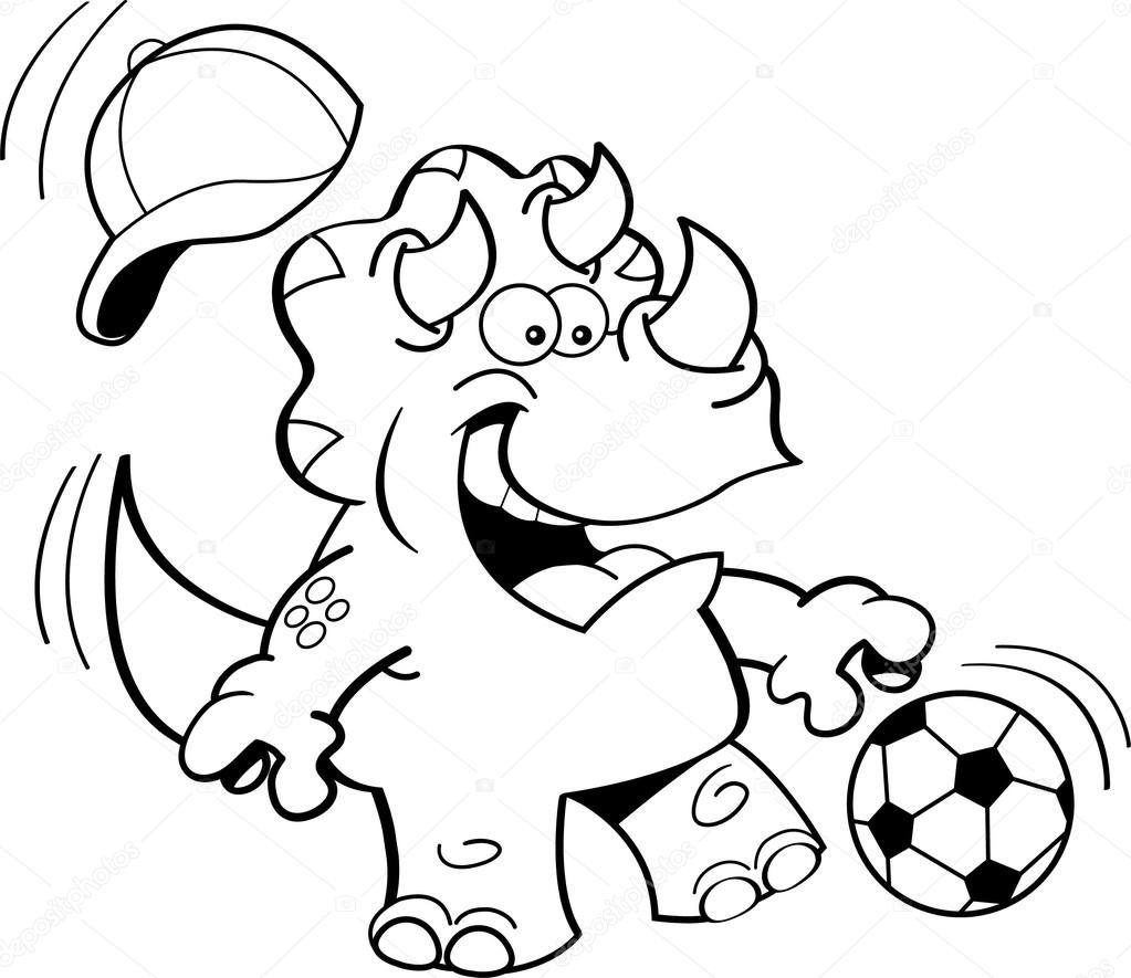 Cartoon Triceratops Fussball Spielen Stockvektor