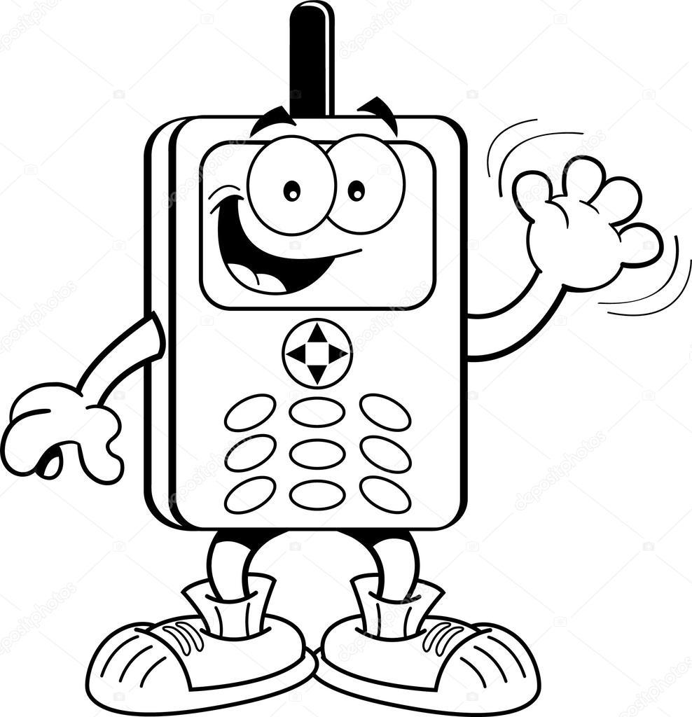 dibujos animados teléfono celular — Vector de stock © kenbenner ...