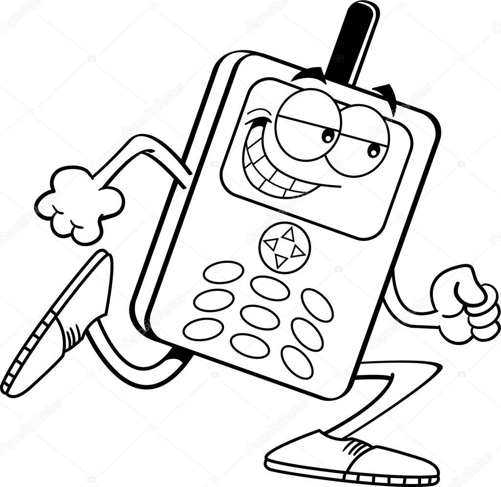 Animado Telefono Celular Para Colorear Dibujos Animados Teléfono