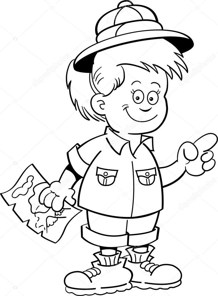 Ilustración de dibujos animados de un explorador de la muchacha