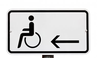Sign indicating provision for disabled to the left stock vector