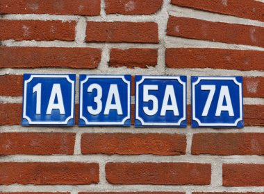 House numbers on wall