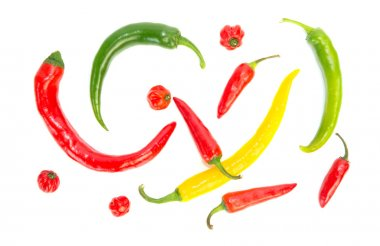 Various colored hot peppers