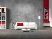 fiktivní moderní obývací pokoj