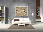moderní obývací pokoj v přírodních barvách