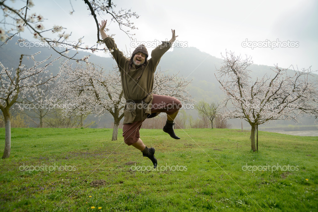 Leap of joy of medieval farmer