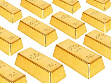 Gold bars on a white background stock vector