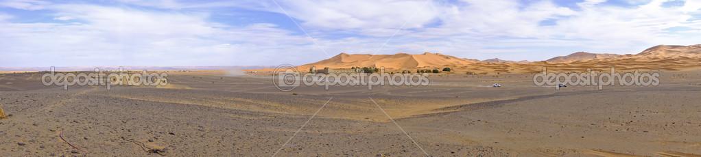Panorama from the Erg Chebbi desert in Maroc Africa