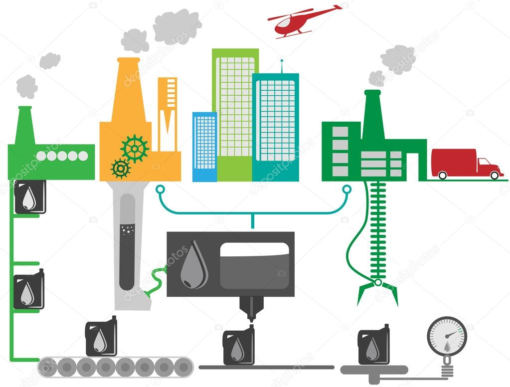 Öl Industrie Fabrik schematische Darstellung — Stockvektor ...