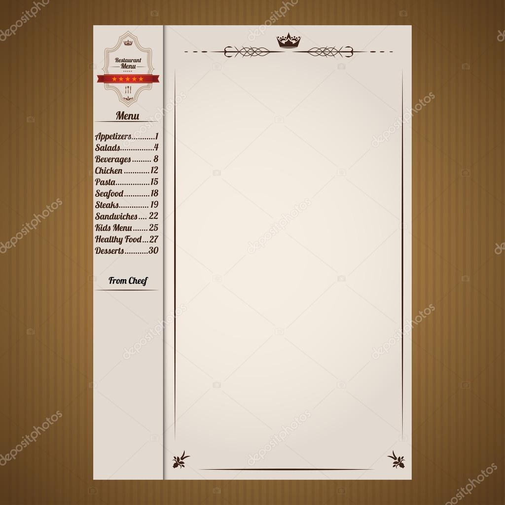 plantilla de página de menú de restaurante — Vector de stock ...