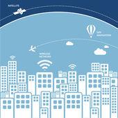 příjemný personál s kusem atmosféry a satelit ve vesmíru - návrh technologie bezdrátové připojení