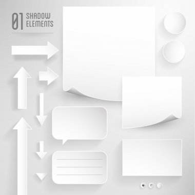 Paper graphic on grey background - design elements with precise shadows
