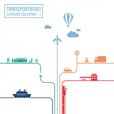 Transportation infographics - graphic elements collection, all means of transport stock vector