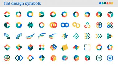 Flat design symbols, signs, abstract icons