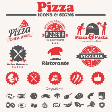 Pizza icons, labels, symbols