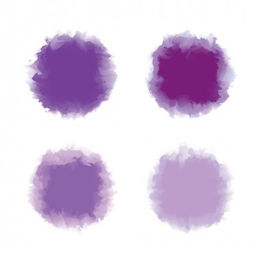 Set of purple and violet tone water color drop for brush, textbox, background, design element